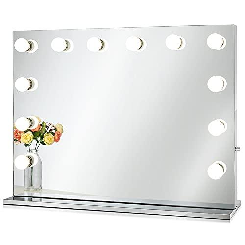 Chende Espejo de Maquillaje Hollywood con Luces para Pared, Espejo de Maquillaje Iluminado con Función Dimmer para Mesa de Dormitorio, Espejo Profesional Grande para Teatro con 12 Leds(80cm X60cm)