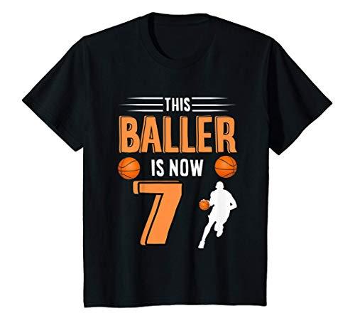 Bambino Basket per bambini 7° compleanno - Questo Baller è ora 7 Maglietta