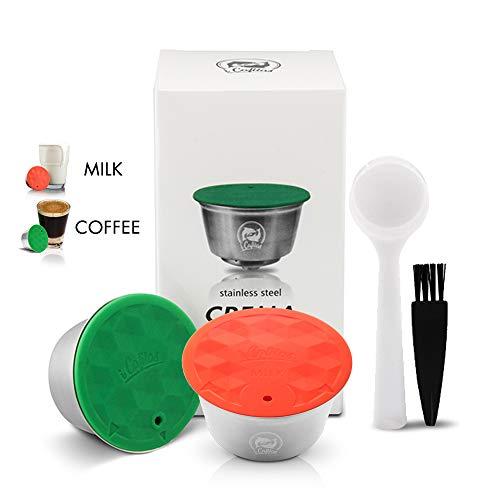 I Cafilas 1 Kapsel für Kaffee Dolce Gusto, wiederverwendbar, mit 1 Milchpads, wiederaufladbar, kompatibel mit Nescafé Dolce Gusto + 1 Löffel + 1 Bürste – Edelstahl