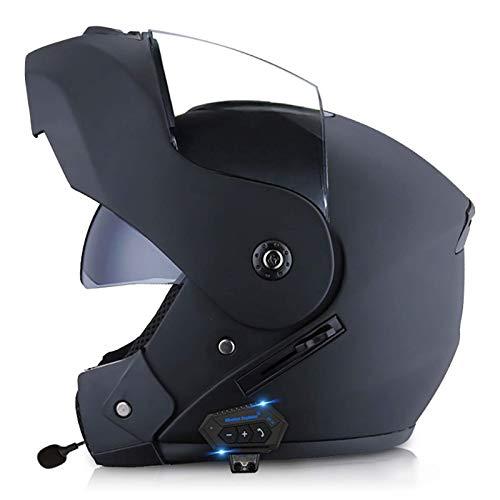 ACEMIC Casco de Motocicleta abatible con Bluetooth Integrado con Viseras Dobles, Casco Modular de Motocross de Choque de Cara Completa para Hombres y Mujeres Adultos, Casco Aprobado por Dot D, L =