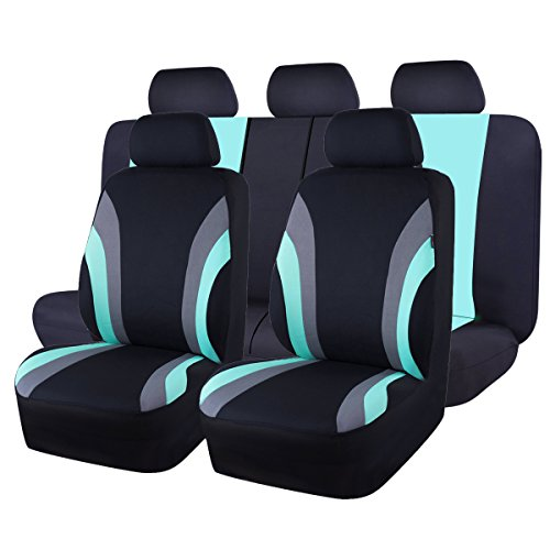 CAR PASS Line Rider 11PCS Universal Fit Car Seat Cover -100% Breathable with 5mm Composite Sponge...