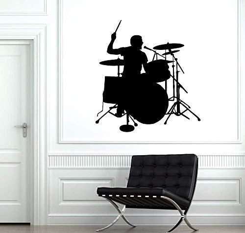 Schlagzeuger Silhouette Wandaufkleber Drum Player Wandtattoo Musik Room Decor Abnehmbare Vinyl Wandkunst Wand Trommel Wand Poster 57 * 61 Cm