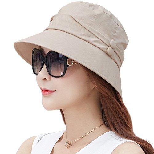 Comhats Damen Faltbarer Sonnenhut Sonnen Shade mit Kinnriemen SPF 50 + Khaki