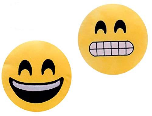 ML Pack 2 x Cojín Emoji Sonrisa, Almohada Emoji Emoticon Relleno Suave Juguete de Peluche 35x35x5cm Cada uno (Amarillo-gruñ)
