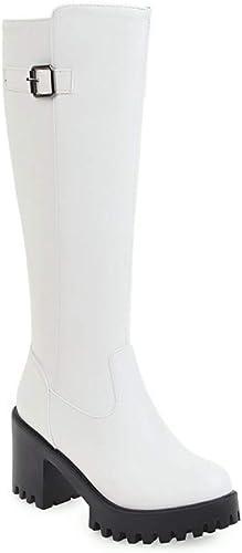 Fuxitoggo Bottes Chaudes d'hiver Bottes Longues pour Femmes épaisses avec des Bottes féminines Blanches Bottes 34-39 (Couleuré   Blanc, Taille   38)
