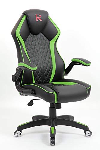 Vivol Silla para videojuegos de diseño – Negro Verde – Silla de PC – Diseño moderno – Sill