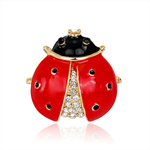 little finger Women Christmas Decorations Scarf Accessory Cute Ladybird Rhinestone Brooch Pin Insect Breastpin Multicolor