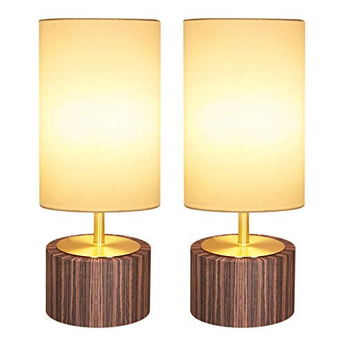 DEEPLITE Touch Control Table Lamp Set of 2 , Bedside Lamp Dimmable Touch Light Ambient Night Light with Cylinder Shade, Modern Accent Nightstand Lamp for Bedroom, Living Room, Office, Bulb Included