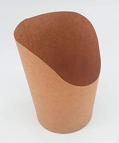 50 bandejas cónicas de 250 ml de papel kraft de 10 cm de altura, 6 cm de diámetro, biodegradables, compostables y húmedas para patatas fritas, tempura, cuenco para take way