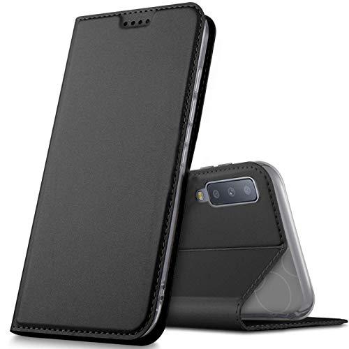 Verco Handyhülle für Galaxy A7 [2018], Premium Handy Flip Cover für Samsung Galaxy A7 Hülle [integr. Magnet] Book Hülle PU Leder Tasche, Schwarz