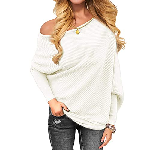 VOIANLIMO Women's Off Shoulder Knit Jumper Long Sleeve Pullover Baggy Solid Sweater White M