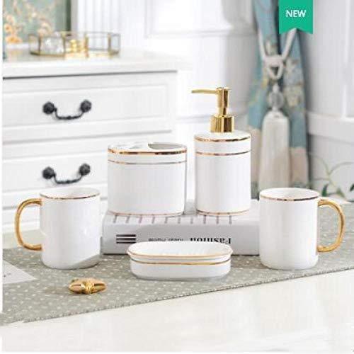 HTBYTXZ Badartikelen van keramiek en verguld metaal, set met accessoires voor het schoonmaken van fles, mondspoeler, zeepbakje, tandenborstelhouder, huishoudartikelen 5 stuks.