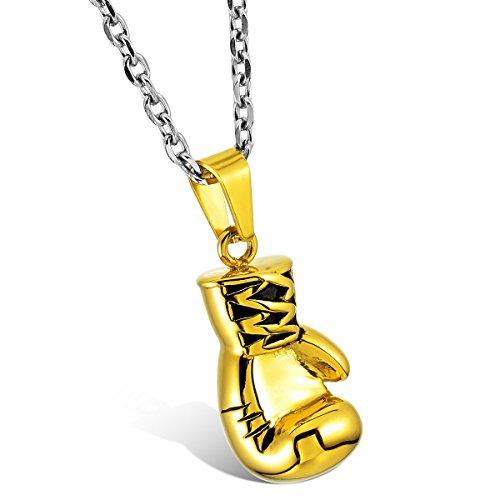 MunkiMix Edelstahl Anhänger Halskette Golden Ton Boxhandschuh Boxhandschuhe Handschuhe Herren,mit 58cm Kette