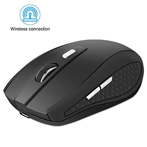 Seinal Mini Maus kabellos Wireless Mouse, 2.4G Funkmaus, 2400 DPI 6 Tasten Optische Mäuse mit USB Nano Empfänger Für PC Laptop, Microsoft Pro, Office Home,Schwarz