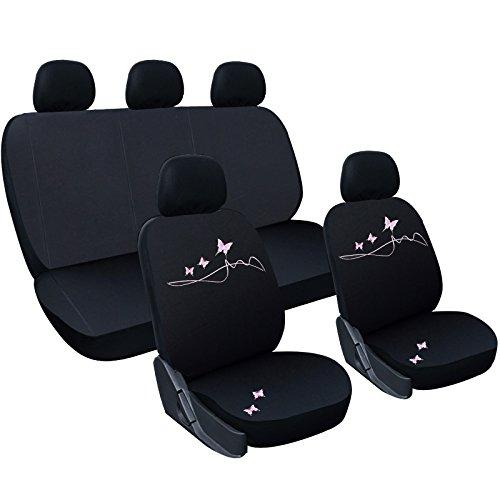 WOLTU AS7304 Universal Schonbezüge für Auto Sitzbezug Sitzschoner Autositzbezug, Butterfly Stickerei, Schwarz-Rosa