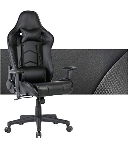 Gaming Chair Ergonomic Computer Game Chair Seat Height Adjustment Recliner Swivel Rocker E-Sports Office Chair with Headrest and Lumbar Pillow (Leather, Black) black chair gaming