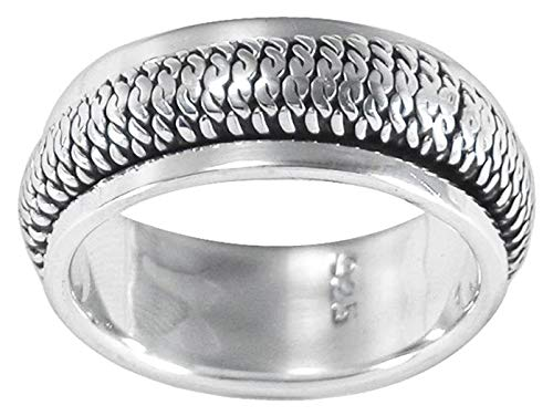 MENS 8MM Wide Vertical Rope Braid Sterling Silver Spinner/Spinning/Spin Band Ring - 925 Sterling Silver - Meditation Worry Stress Ring - Size Z1