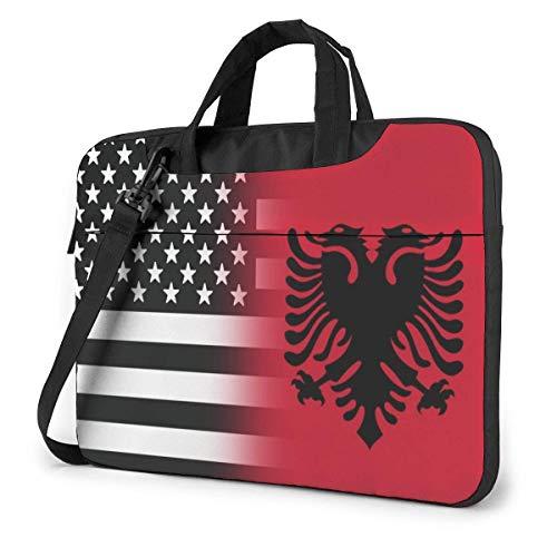 Black and White USA Albania Flag Funny Laptop Case Laptop Shoulder Messenger Bag Sleeve for 15.6 Inch