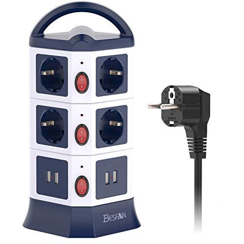 BESFAN Regleta Enchufes Vertical de 10 Tomas Corrientes y 4 Rápida USB Tomas, Alargadora Cable de 3m y Toma de Corriente con Protección y Interruptor, Tapón de Seguridad, 2500W/10A