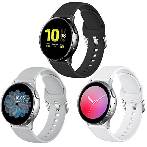 Lerobo Bands Compatible with Samsung Galaxy Watch Active/Active 2 44mm 40mm/Galaxy Watch 3 41mm/Galaxy Watch 42mm, 20mm Soft Silicone Sport Strap Replacement Bands,3 Pack,Large, Black White Gary