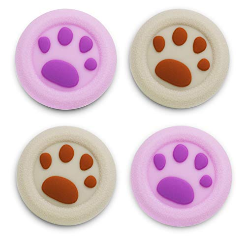 Playrealm Soft Rubber Silicone 3D Texture Thumb Grip Cover x 4 for PS5, PS4, Xbox Series X/S, Xbox One, Switch PRO Controller(Cat Paw Brown Purple)