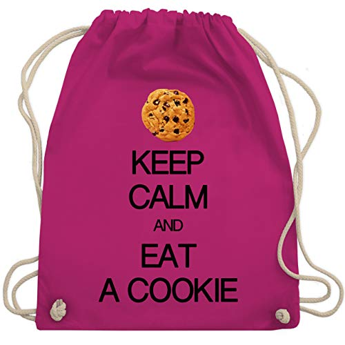 Shirtracer Keep calm - Keep calm and eat a cookie - Unisize - Fuchsia - kruemmelmonster kostuem - WM110 - Turnbeutel und Stoffbeutel aus Baumwolle
