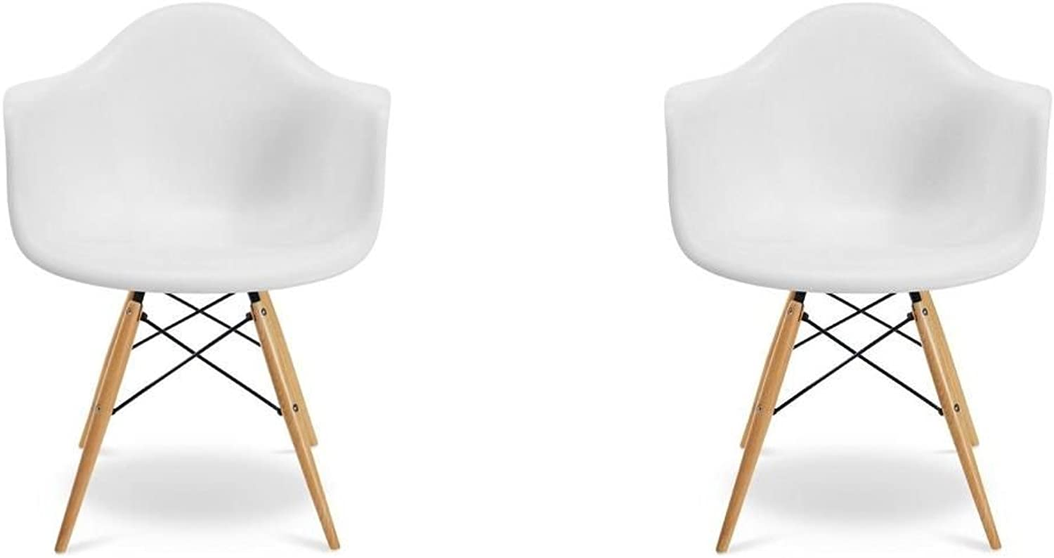 Meubles House S2-PC-0119-W Mid-Century Modern Eiffel Style Kids Bucket Chair with Chrome Legs (Set of Two), White