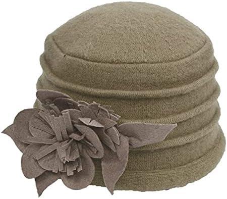 Zboro Women's Fedora Hat Ladies Elegant Wool Flower Hat Winter Vintage Cloche Bucket Cap Woman Party Headwear Chapeau Femme - Khaki - One Size