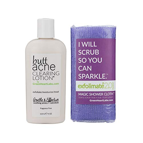Brilliant Booty Kit | Butt Acne Clearing Lotion and ExfoliMATE Magic Body Exfoliating Cloth for Soft & Young Skin (Purple)