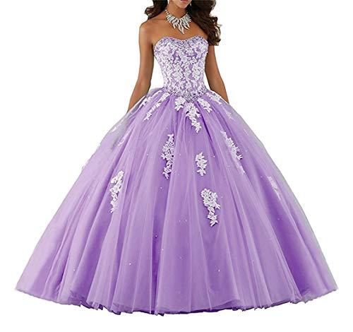 XUYUDITA Mujeres Lace piso de longitud vestido de baile Quinceanera vestido vestido de fiesta Tul Lila-34
