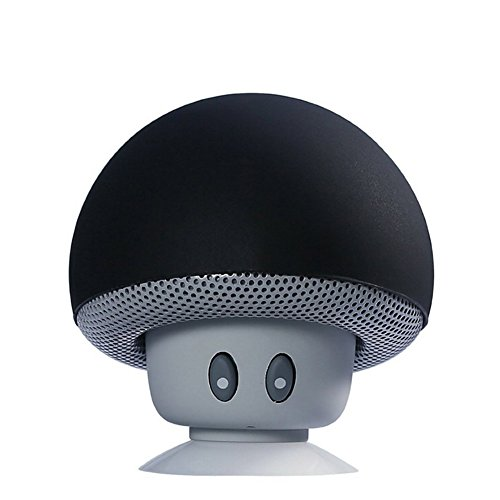 TinyFin Mini Bluetooth Wireless Portable Mushroom Speaker with Sucker Function Black for iPhone Samsung and More