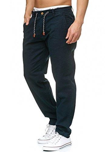 Indicode Herren Veneto Stoffhose aus 55% Leinen & 45% Baumwolle m. 4 Taschen | Lange sportliche Regular Fit Hose Moderne Baumwollhose Leinenhose Bequeme Freizeithose f. Männer Navy L