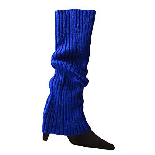 bobeini - Calentadores de piernas de Punto de Color neón para Halloween de los años 80, Calcetines Acanalados Brillantes sin pies, Azul Real