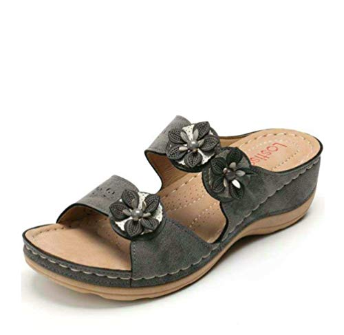 ODOKAY Womens Wedge Platform Slide Sandals Dual Strap Flowers Breathable Comfy Arch Support Beach Wedges Sandal Dark Green