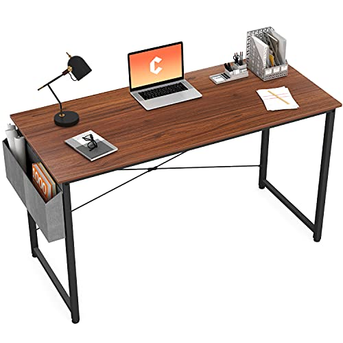 Cubiker Computer Desk 40 inch Home Office Writing Study Desk, Modern Simple Style Laptop Table with Storage Bag, Walnut