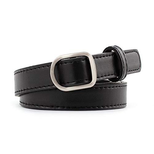 Cinturón Cinturón De Cuero Sintético para Mujer Color Puro Hebilla Lisa Cinturón Moda Simple Y Versátil Cinturón No Perforado Bblack