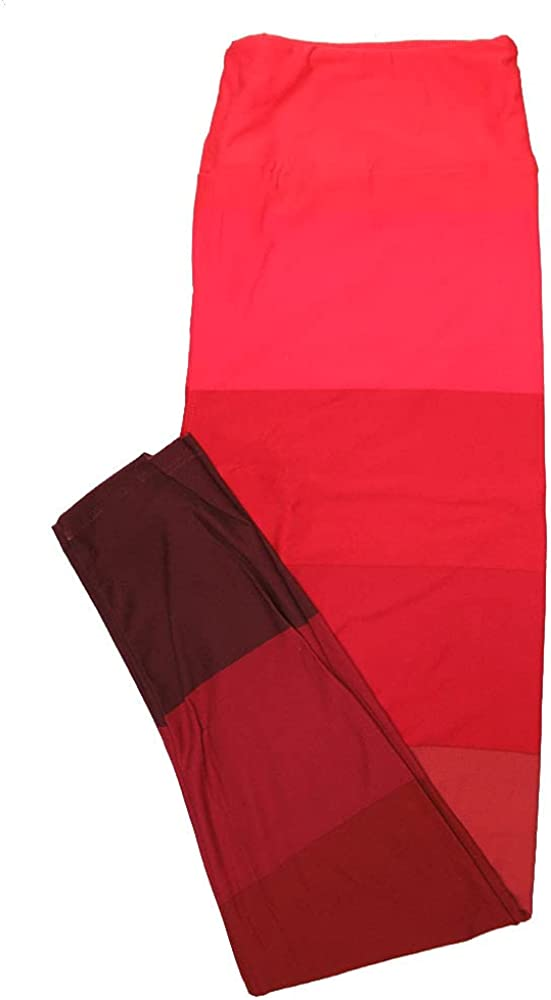 Lularoe One Size OS Gradient Red Stripe Valentines Leggings (OS fits Adults 2-10)