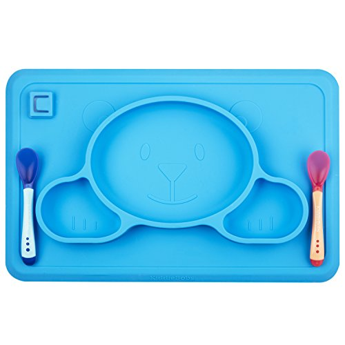 Toddler Placemat + 2 Spoons - No More Mess - BPA Free Silicone Plate Set - Improved Non-slip Suction - Baby Table Place Mat for Babies, Infants, Toddlers, Kids - Portable Travel Bowl Spoons Blue