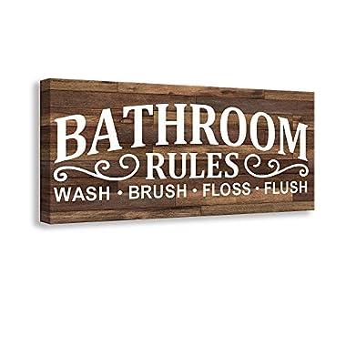 bawansign Wash Brush Floss Flush Sign Wood Sign Farmhouse Farmhouse Decor Bathroom Decor