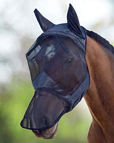 Harrison Howard CareMaster Fliegenmaske UV-Schutz Ohren und Nasenschutz Schwarz Kaltblut (XL)