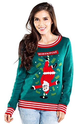 Tipsy Elves Green Women's Ugly Christmas Sweater North Pole Dancer Funny Stripping Santa Claus Holiday Pullover Size X-Small