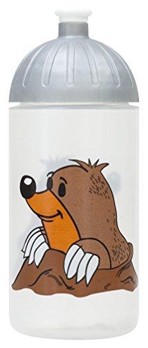 ISYbe Original Marken-Trink-Flasche für Klein-Kinder, 500 ml, BPA-frei, Maulwurf-Motiv für Mädchen & Jungen, für Schule-Reisen-Kita-Kiga-Outdoor, Auslaufsicher auch mit Sprudel, Spülmaschine-fest