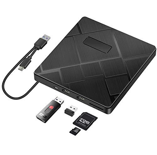 BEVA Grabadora CD/DVD Externa, Unidades CD DVD Externa USB 3.0 & Tipo c, Lector DVD Compatible con Tarjetas SD/TF, para Windows 7/8/10/XP/Vista, Linux, Mac OS