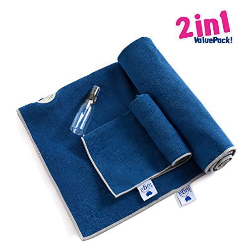 IUGA Non Slip Yoga Towel, Extra Thick Hot Yoga Towel + Hand Towel 2in1 Set, Corner Pockets...