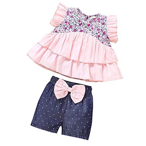 Borlai Conjunto de ropa para bebé niñas con diseño floral sin mangas, camisa y lazo, pantalones cortos de puntos, 1 – 5 años