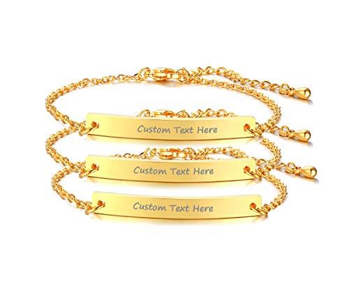 Set for 2 Customize Skinny Thin Bar Nameplate Monogram Friendship Bracelet,18K Gold Plated,Bridesmaid Gift
