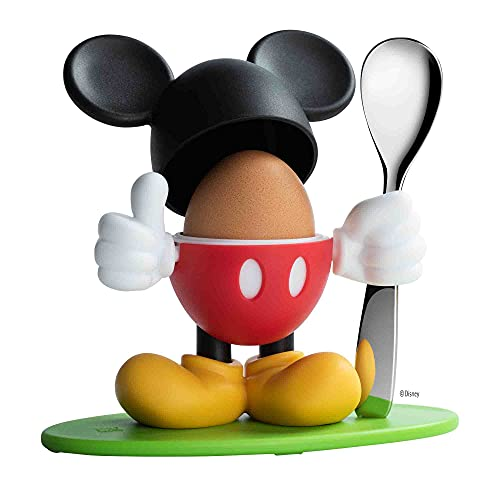 WMF Disney Mickey Mouse Eierbecher mit Löffel, Silber, 13 x 11,5 x 11 cm
