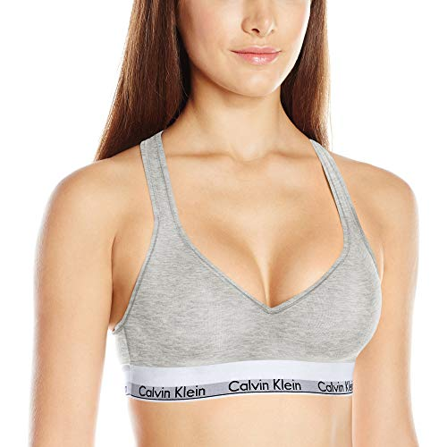 Calvin Klein Women's Modern Cotton Lightly Lined Bralette, Grey Heather, Large