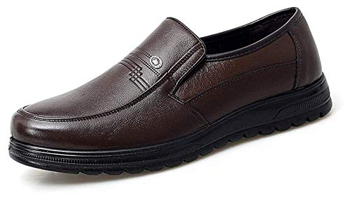 LXF JIAJU Zapatos de Hombre Negocio De Los Zapatos Clásicos De Los Hombres del Dedo del Pie del Pie Ocasional Simple Cubierta Redonda Zapatos Formales (Color : Brown, Size : 38EU)