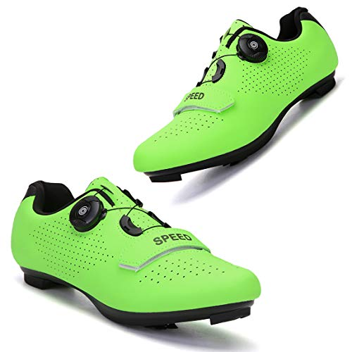 Etaclover Mens or Womens Road Bike Cycling Shoes Compatible Lock Cleats Pedal Bike Shoes Indoor/Outdoor Comfortable Green